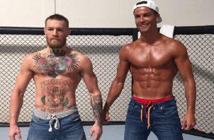Connor McGregor y Cristiano en un entrenamiento.
