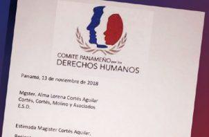 Notificación del Comité Panameño por los Derechos Humanos. Foto/Cortesía