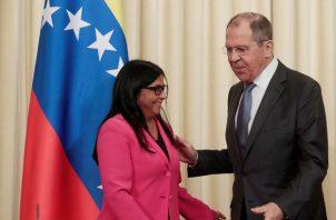 Delcy Rodríguez, se reunión con el canciller ruso Serguei Lavrov. FOTO/EFE