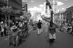Una protesta de discapacitados por incumplimiento del pago de un bono por parte del Gobierno boliviano.