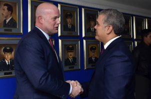 Iván Duque saluda al vicefiscal de Estados Unidos, Matthew Whitaker, Foto: EFE.