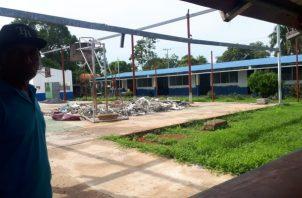 La Escuela España de Natá está en fase de reparación y se de clases en algunos salones improvisados. Foto Cortesía/ Elena Váldez