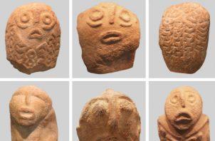 Los arqueólogos dicen que las cabezas parecen ser una mezcla de rasgos humanos y de peces.