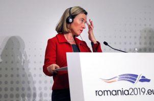 comisionada de relaciones exteriores de la UE Federica Mogherini, señala que se busca una salida pacífica a la crisis venezolana. FOTO/EFE