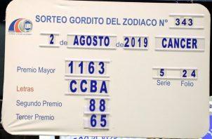 El sorteo del Gordito del Zodiaco jugó el pasado 2 de agosto.