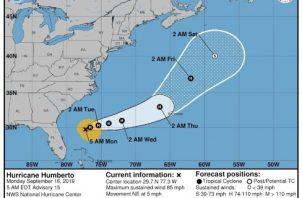 Mapa del movimiento del huracán  Humberto. FOTO/EFE