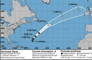 Imagen cedida por el Centro Nacional de Huracanes (NHC) de EE.UU. que muestra el pronóstico de cinco días del huracán de categoría 1 Óscar.