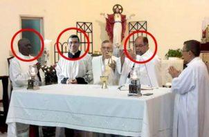 Los sacerdotes Rogelio Topin, Orlando Rivera y Karl Madrid involucrados en supuesto escándalo sexual. Foto/Redes Sociales