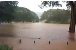 Debido a las fuertes lluvias se desbordó la quebrada del Río Tonosí. Foto/Sinaproc