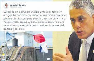 Jorge González fue ministro de Estado en el gobierno de Juan Carlos Varela y aspiraba a seguir dentro de la directiva dentro del Partido Panameñista.