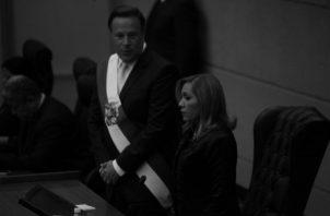 El presidente Juan Carlos Varela junto a la presidenta de la Asamblea Nacional, Yanibel Ábrego, antes de iniciar el último discurso de su mandato. Foto: Víctor Arosemena/EPASA.