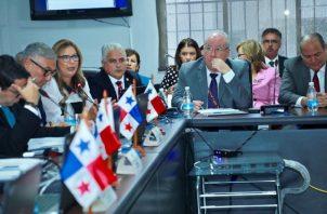 Magistrados de la CSJ al momento de sustentar presupuesto. Foto de Twitter