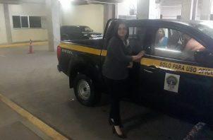La fiscal Leida Sánchez a su llegada al Rod Carew.