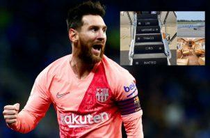 Lionel Messi celebra uno de sus goles ante Espanyol. Foto EFE