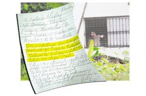 Manunscrito donde Ricardo Martinelli denuncia prohibición de ingreso de alimentos.