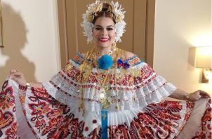 Margarita Henríquez lució esta pollera en su segunda presentación. Foto: Instagram