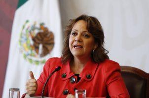Subsecretaria mexicana para Asuntos Multilaterales y Derechos Humanos, Martha Delgado, explica los temas que abordará México en la ONU. FOTO/EFE