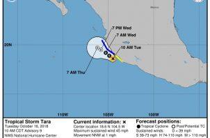 El pronóstico de cinco días de la tormenta tropical Tara que prosigue en su camino hacia la costa mexicana. EFE