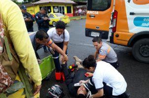 Se procedió a atender al motorizado accidentado en la provincia de Chiriquí.