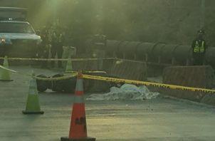 El motorizado perdió la vida tras accidentarse en el Corredor de Los Pobres. Foto @TraficoCPanama