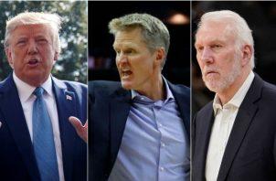 Donald Trump opinó sobre la crisis entre al NBA y China y sacudió a técnicos como  Kerr (c) y Popovich (derecha).