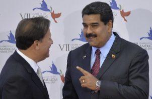 Juan Carlos Varela y Nicolás Maduro tuvieron una estrecha relación como cancilleres de sus países. EFE