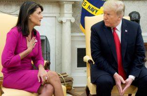 El presidente Donald Trump confirmó que Haley abandonará el cargo a finales de año. FOTO/EFE