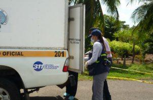 El Ministerio Público a través de la personería municipal de Mariato levantó el cuerpo de la bebé. Foto: Melquíades Vásquez.