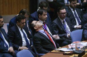 El ministro de Relaciones Exteriores de Venezuela, Jorge Arreaza (c), participa durante una reunión en el Consejo de Seguridad de la ONU. FOTO/EFE