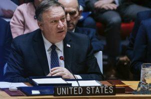 El Secretario de Estado de Estados Unidos, Mike Pompeo, participa de la reunión del Consejo de Seguridad en la ONU donde se trata la crisis venezolana. FOTO/AP