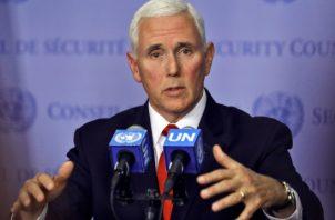 El vicepresidente Mike Pence, destacó además que la ONU debería revocar las credenciales del embajador venezolano ante el organismo, Samuel Moncada. FOTO/AP