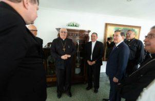 Las principales figuras de la Iglesia católica se reunieron con el presidente Laurentino Cortizo.