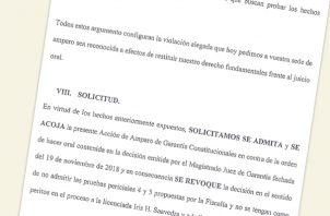 Amparo presentado por la defensa de Ricardo Martinelli.