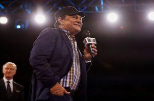 Roberto 'Manos de Piedra' Durán agradece un homenaje en su honor por  la OMB en Puerto Rico. Foto:EFE