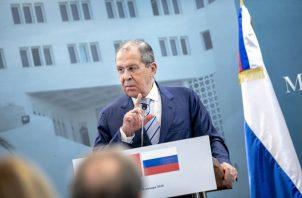 Ministro de Asuntos Exteriores de Rusia, Serguéi Lavrov, hace referencia a la situación entre EE.UU. y Venezuela. FOTO/AP