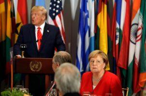 El presidente Donald Trump reunido con jefes de Estado luego de participar en la ONU. FOTO/AP