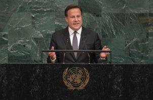 Juan Carlos Varela dijo en la ONU que Panamá es uno de los países más avanzados de la región. Foto: Presidencia Panamá.