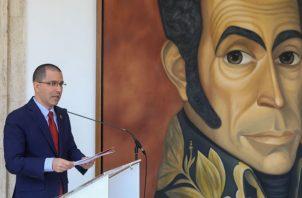 El canciller venezolano Jorge Arreaza, en un comunicado hace referencia a los planes contra Venezuela. FOTO/EFE