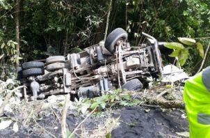 Estado en que quedó el pesado vehículo. Foto: Melquíades Vásquez.