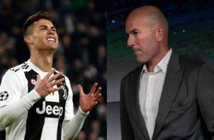 Cristiano Ronaldo y Zidane estuvieron juntos en el Real Madrid como jugador y técnico Foto AP/EFE