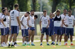 Argentina en el entrenamiento. Foto AP