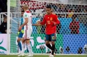 Thiago Alcántara durante el partido de España contra Marruecos. Foto EFE