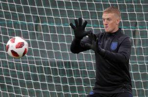 Jordan Pickford durante el entrenamiento del seleccionado de Inglaterra. Foto AP