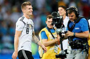 Toni Kroos luego de anotar el empate de Alemania contra Suecia durante el mundial Rusia 2018. Foto EFE