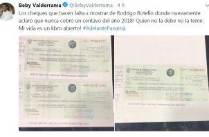 Cheques fueron devueltos por sobrino de Beby Valderrama