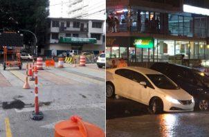 Reparan losa en la Vía Argentina que había colapsado tras la lluvia del miércoles. Foto: Redes sociales.