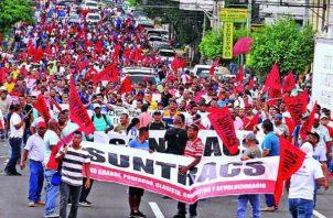 Suntracs anunció que la marcha será a partir de las 2:00 de la tarde. Foto: Panamá América.