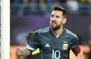 Leo Messi viene de anotarle a Brasil Foto AP