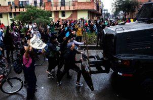 Los manifestantes se enfrentaron a los estamentos del orden público,FOTO/EFE