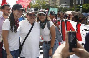 El jefe de las FARC, Rodrigo Londoño Echeverri, participó del paro nacional contra las reformas planteadas por el presidente colombiano Iván Duque. FOTO/EFE